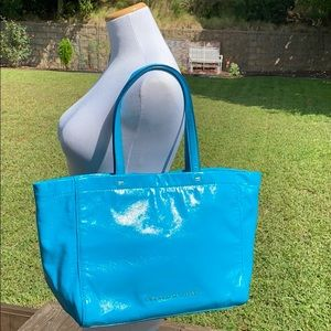 Marc by Marc Jacobs turquoise patent leather tote